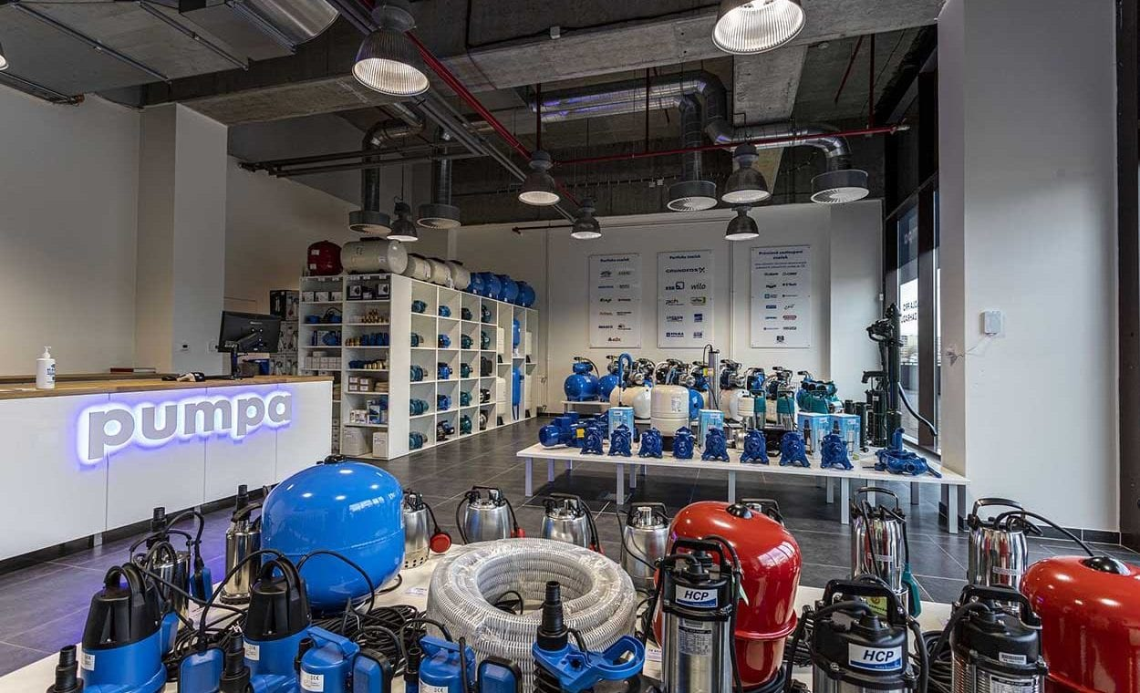 Interier nove prodejny Pumpa PRO v Praze - Stodulkach